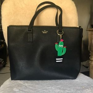 Kate Spade Tote with Cactus Keychain